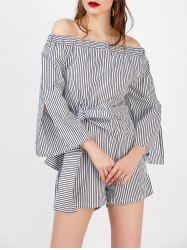 Off The Shoulder Tie Belt Striped Romper