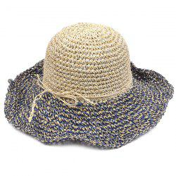 Color Block Beach Straw Fedora Hat with Flouncing - CADETBLUE