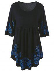 Printed Skirted Blouse - BLACK