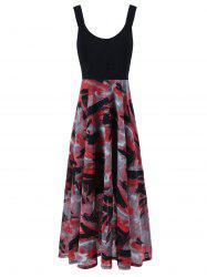 Plus Size Tie Dye Midi Casual Flower Dress - RED WITH BLACK