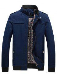 Ribbed Trim Stand Collar Jacket - CERULEAN 4XL