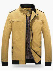 Ribbed Trim Stand Collar Jacket - EARTHY 2XL