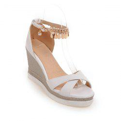 Wedge Heel Cross Strap Sandals - WHITE