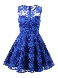 Lace Embroidered Sleeveless Homecoming Skater Dress - BLUE M