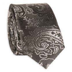 Vintage Tie with Paisley Jacquard - BLACK GREY