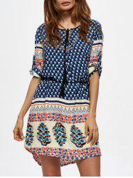 Floral Print Tassel Self Tie Dress - BLUE