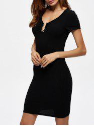 Ribbed Knit Bodycon Day Dress with Metal