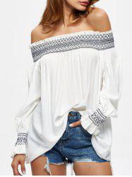 Off The Shoulder Flowy Embroidered Blouse - WHITE