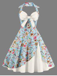 Halter Vintage Floral Print Pin Up A Line Dress