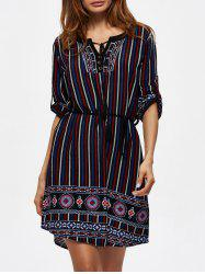 Self Tie Tassel Printed Dress - MULTI