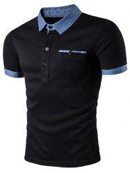 Denim Splicing Pocket Polo T-Shirt - BLACK
