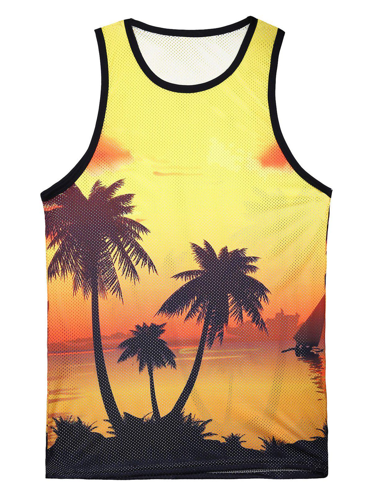 Outfits Round Neck 3D Printed Hawaiian Tank Top