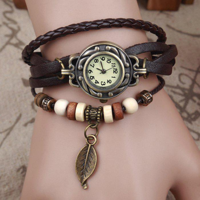 Vintage Tree Leaf Braid Bracelet WatchJEWELRY<br><br>Color: BROWN; Gender: For Women; Style: Fashion; Type: Bracelet Watch; Case material: Alloy; Band material: Leather; Movement: Quartz; Dial Shape: Round; Water-Proof: No; Case Thickness(MM): 6MM; Dial Diameter: 2.6CM; Band Length(CM): 22CM; Band Width(CM): 1.7CM; Package Contents: 1 x Watch;