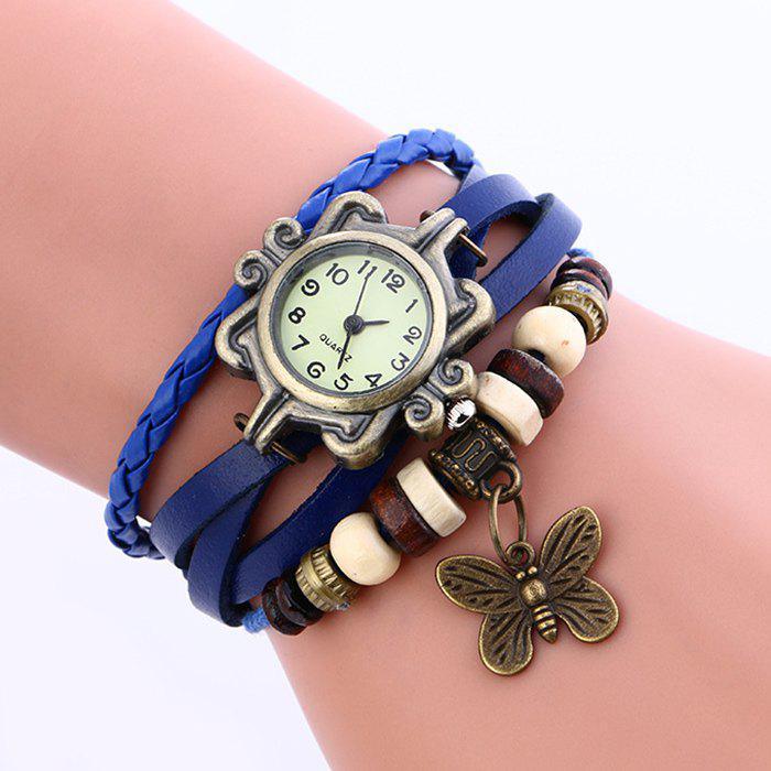 Online Faux Leather Strap Analog Vintage Bracelet Watch
