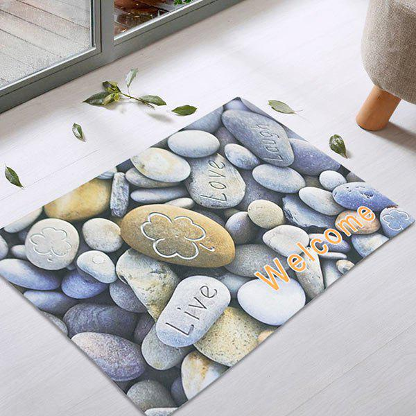 Cobblestone Non-Slip Door Entrance RugHOME<br><br>Size: 45*75CM; Color: BLUE GRAY; Products Type: Bath rugs; Materials: Latex; Pattern: Geometric; Style: Cute; Shape: Rectangular; Weight: 0.7500kg; Package Contents: 1 x Rug;