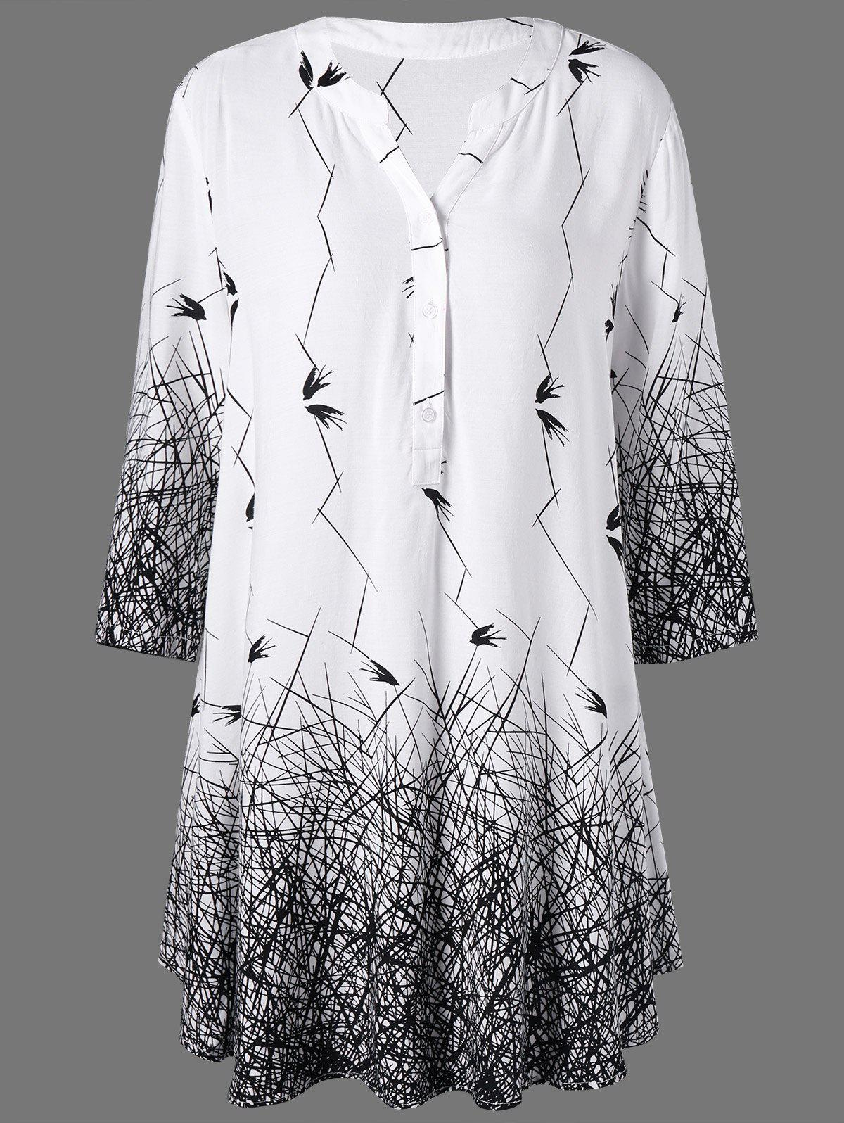 Outfit Plus Size Graphic Longline Henley Blouse