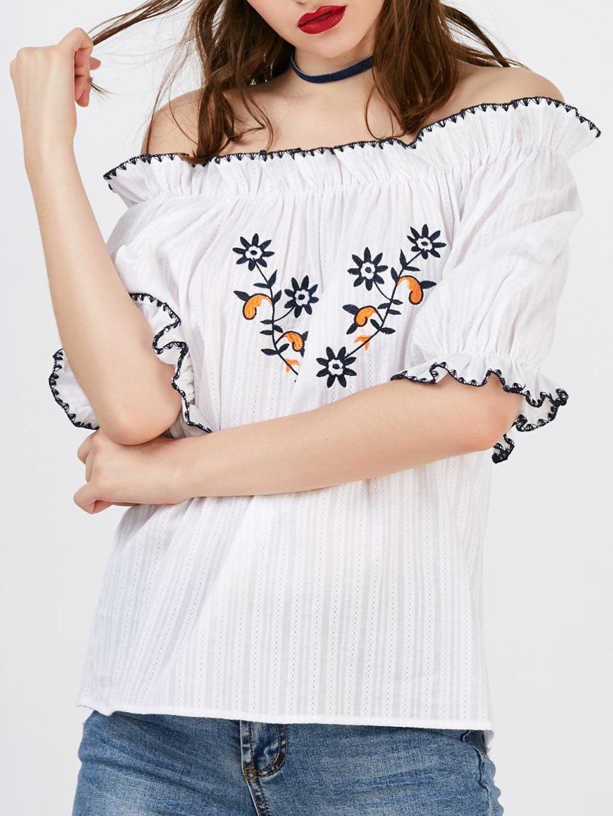 Hot Floral Embroidery Off The Shoulder Blouse