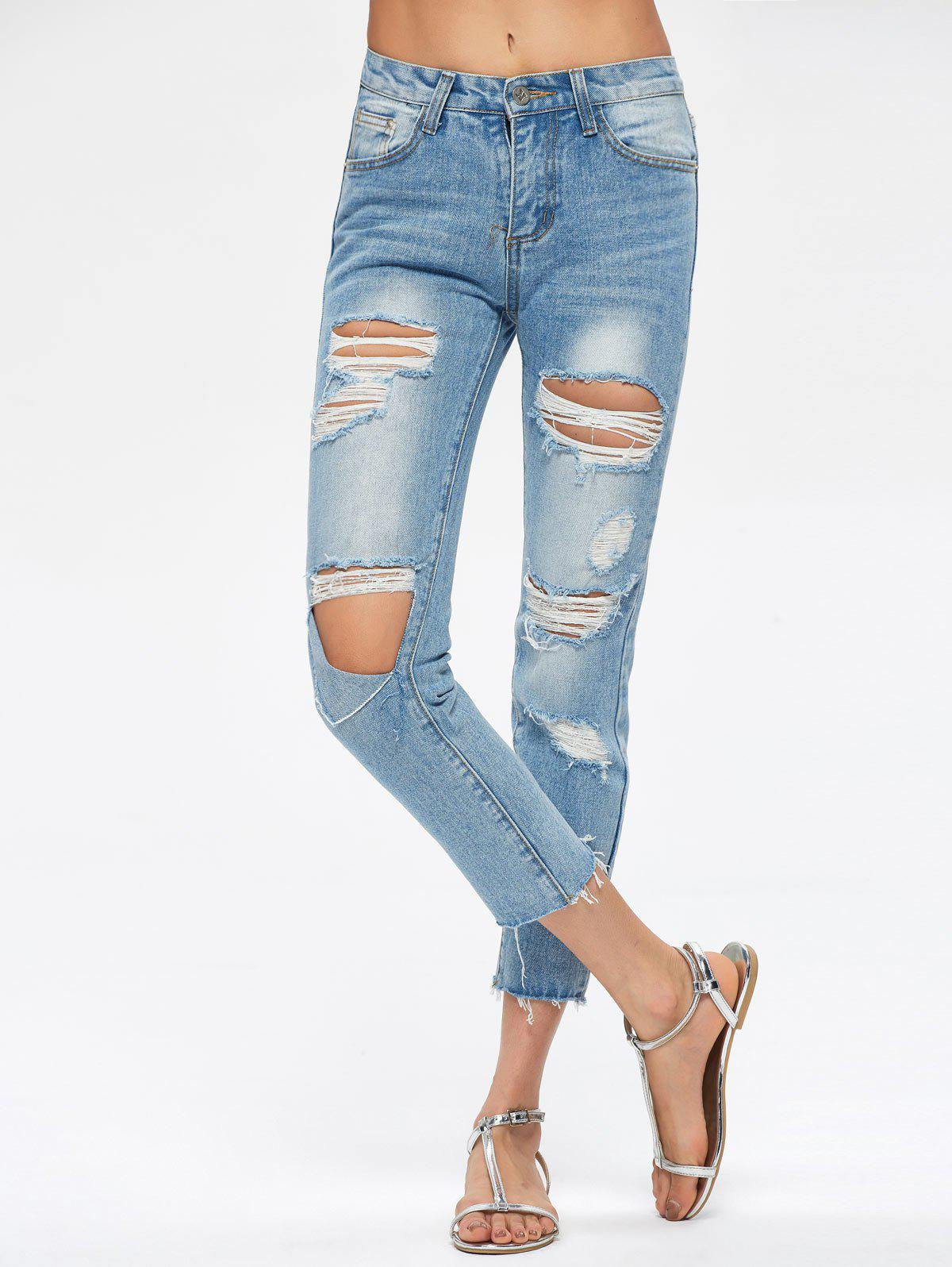 Fashion Destroyed Cropped Jeans