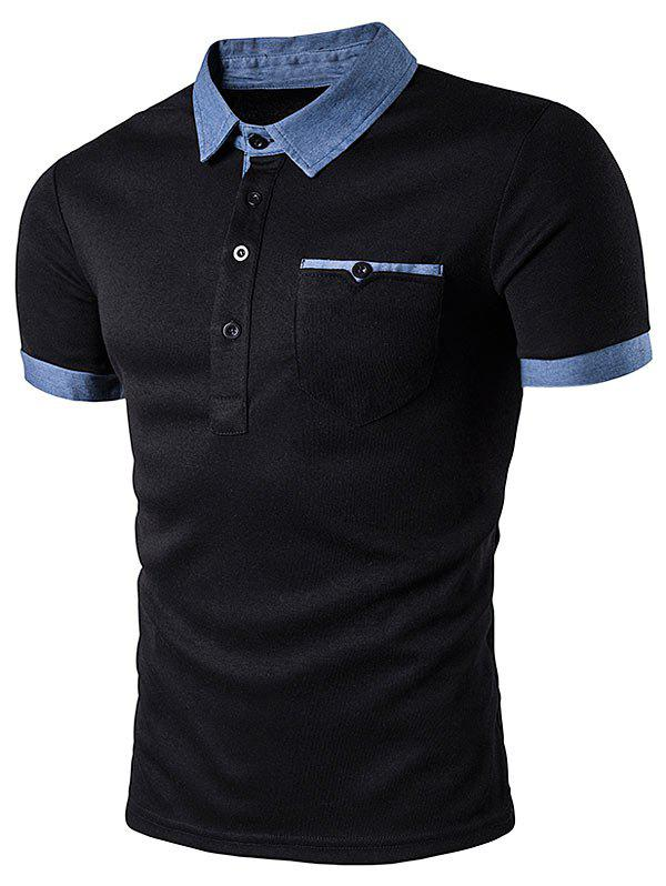 Denim Splicing Pocket Polo T-ShirtMEN<br><br>Size: 2XL; Color: BLACK; Material: Cotton Blends; Sleeve Length: Short; Collar: Turn-down Collar; Style: Casual; Embellishment: Pockets; Pattern Type: Others; Season: Summer; Weight: 0.2270kg; Package Contents: 1 x T-Shirt;