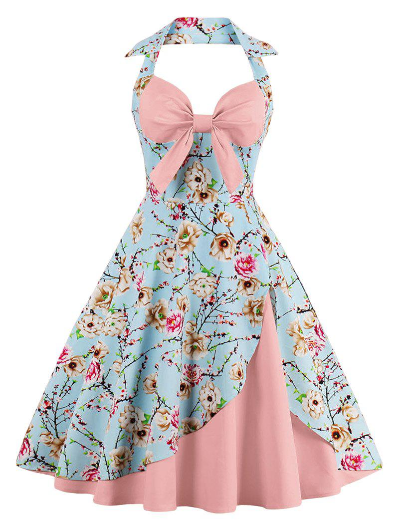 Halter Neck Floral Pin Up A Line DressWOMEN<br><br>Size: S; Color: PEONY PINK; Style: Vintage; Material: Polyester; Silhouette: A-Line; Dresses Length: Knee-Length; Neckline: Halter; Sleeve Length: Sleeveless; Pattern Type: Floral; With Belt: No; Season: Summer; Weight: 0.3500kg; Package Contents: 1 x Dress;