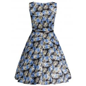 Printed Belted High Waist Flare Dress - COLORMIX XL