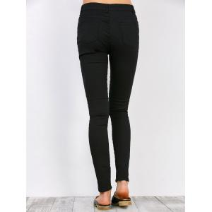 High Waisted Distressed Jeans - BLACK 2XL