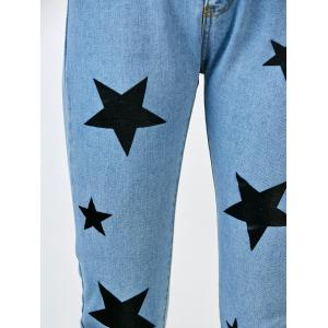 Star Print Jeans with Pockets - BLUE S