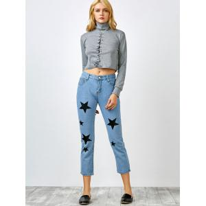 Star Print Jeans with Pockets - BLUE M