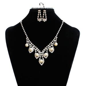 Artificial Pearl Wedding Rhinestone Jewelry Set - Silver - One-size