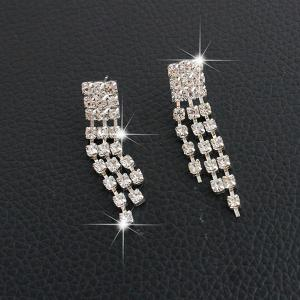Fringed Rhinestone Necklace and Earrings -