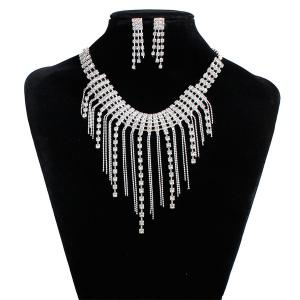Fringed Rhinestone Necklace and Earrings - Silver