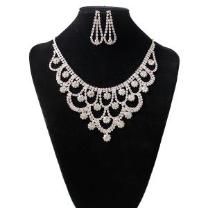 Rhinestone Floral Hollow Out Jewelry Set