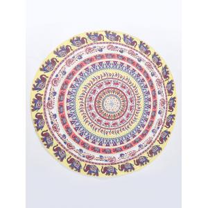 Thailand Elephant Mandala Chiffon Round Beach Throw -