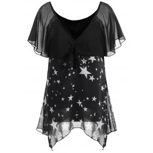 Star Print Chiffon Plus Size Top