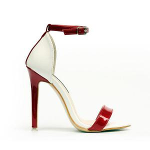 Ankle Strap Patent Leather Sandals - RED 39