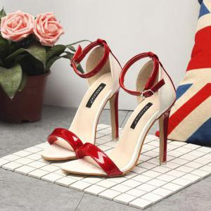 Ankle Strap Patent Leather Sandals -