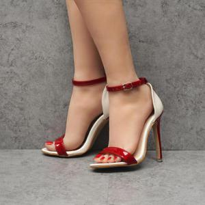 Ankle Strap Patent Leather Sandals - RED 40