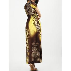 V Neck Long Leopard Printed Bohemian Maxi Dress - YELLOW XL