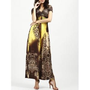 V Neck Long Leopard Printed Bohemian Maxi Dress
