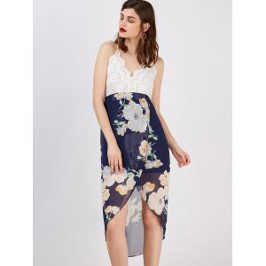 Floral Print Backless Asymmetrical Midi Dress -