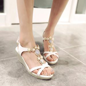 T Strap Faux Leather Sandals - White - 38