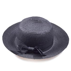Flanging Bowknot Band Bowler Straw Hat
