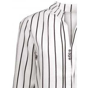 Striped Button Design Blouse with Pocket -