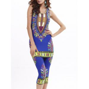 African Print Longline Tank Top and Cropped Pants -