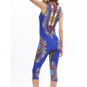 African Print Longline Tank Top and Cropped Pants - BLUE ONE SIZE