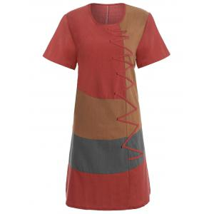 Plus Size Colorblock Embroidered Linen T-Shirt Dress - Red - 3xl