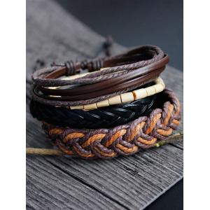 Hand Woven Faux Leather Bamboo Bracelet Set