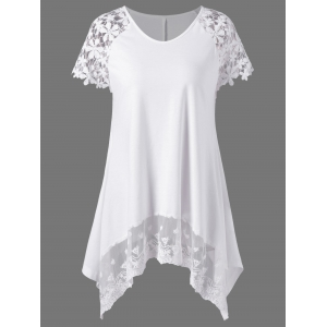 Plus Size Lace Trim Cutwork Asymmetrical Long T-Shirt
