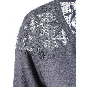 Plus Size Lace Crochet Panel T-Shirt - GRAY XL