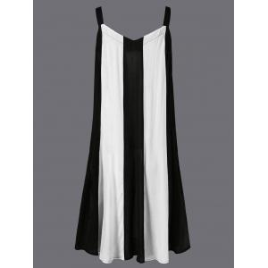 Swing Striped Casual Daytime A Line Dress - WHITE M